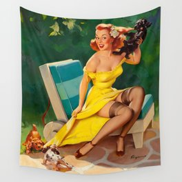 Pin Up Girl and Puppies Wall Tapestry