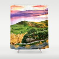 the lord of the rings Shower Curtains featuring Lord of the Rings Hobbiton by KS Art & Design