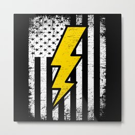 American Electrician USA Flag 4th Of July Gift Metal Print
