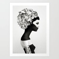 though she be but little Art Prints featuring Marianna by Ruben Ireland