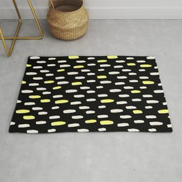 black with pressed linen & yellow /geometric series Rug