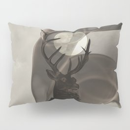 Stag Deer under Full Moon Matted Picture A363 Pillow Sham