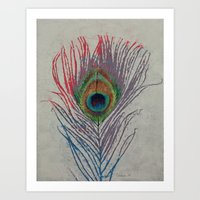 peacock feather Art Prints featuring Peacock Feather by Michael Creese
