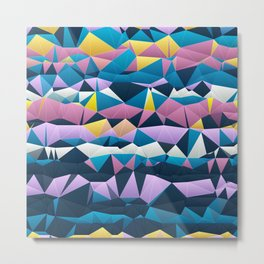 Multi colored purple blue quilted pattern abstract Metal Print