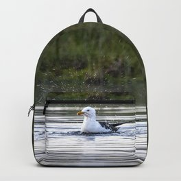 Gull bathing and showering Backpack