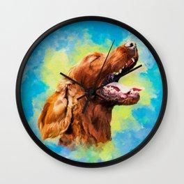 Irish Setter - happy dog Wall Clock