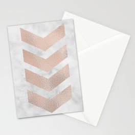 Rose gold chevrons on marble Stationery Cards