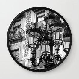 Barcelona Street Lamps Wall Clock
