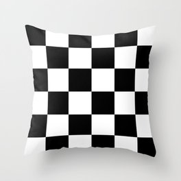 Large Checkered - White and Black Throw Pillow