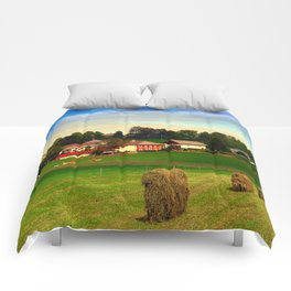 Hay bales and country village | landscape photography Comforters