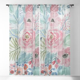 Pretty watercolor hand paint floral artwork. Sheer Curtain