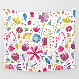 Autumn Hedgerow Flowers Wall Tapestry