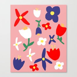 Large Handdrawn Bacchanal Floral Pop Art Print Canvas Print