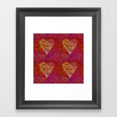 red Love heart tile illustration Framed Art Print