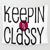 classy Wall Tapestries featuring Classy by Bunhugger Design