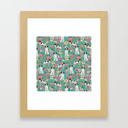 Brittany Spaniel florals pattern dog gifts for dog lovers cute puppies pet portrait Framed Art Print