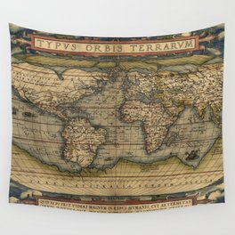 Antique Map of North and South America Wall Tapestry