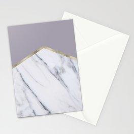 Smokey lilac - gold geometric marble Stationery Cards