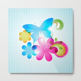 Butterfly Colorful Flowers Paisley And Butterflies Metal Print