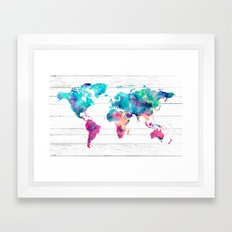 World Map Watercolor Paint on White Wood Framed Art Print