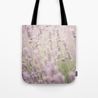 lavender Tote Bags featuring lavender by Sarah Brust