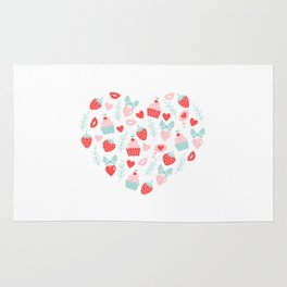 Valentine's Day Heart #5 - Cupcakes and Strawberries Rug