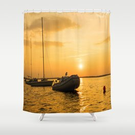 Ships in the evening sun Shower Curtain