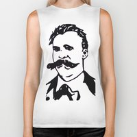 nietzsche Biker Tanks featuring  Friedrich Nietzsche Portrait Black and White Modern Art hand done  by The Odd Portrait
