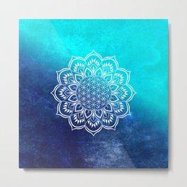 Flower of Life Mandala Blue Metal Print