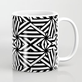 Black and white lines pattern, asymetric design, geometric theme, simple stripes lines, caleidoscope Coffee Mug