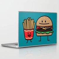 french fries Laptop & iPad Skins featuring Happy Cheeseburger and French Fries by Berenice Limon