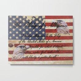 Rustic Patriotic Flag - Pledge of Allegiance Home Decor Art A332 Metal Print