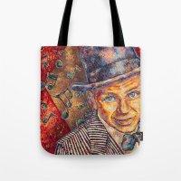 frank sinatra Tote Bags featuring Frank Sinatra  by Sara Elyse Lehtman