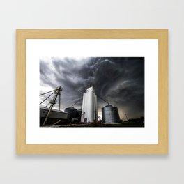 Skyscraper - Storm Over Grain Elevator in Kansas Town Framed Art Print