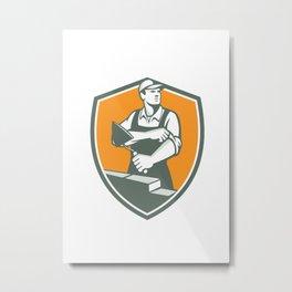 Tiler Plasterer Mason Trowel Shield Retro Metal Print