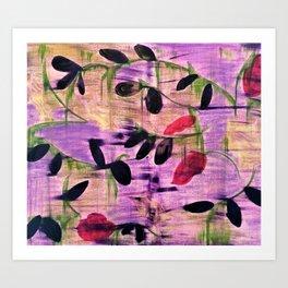 Purple Garden. Purple, Vines, Garden, Flowers, Green, Abstract, Jodilynpaintings Art Print