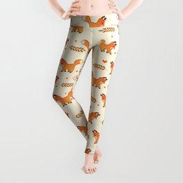 Red Fox & Hearts Pattern Leggings