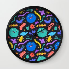 Cute virus and bacteria Wall Clock
