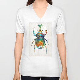 Colorful Beetle Art - Scarab Beauty - By Sharon Cummings Unisex V-Neck