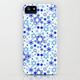 Dynamic Blue Stars of David Pattern iPhone Case