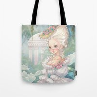 marie antoinette Tote Bags featuring Marie-Antoinette by Pich illustration