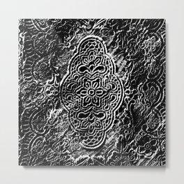 Black Flowerlace Metal Print