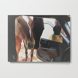 Car Horses Metal Print