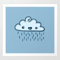 Happy Raining Blue Cloud Art Print