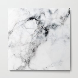 Arctic White Marble Metal Print