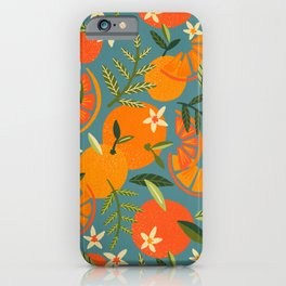Orange Blooms – Blue Palette iPhone Case