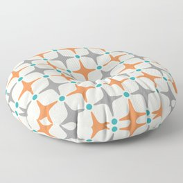 Mid Century Modern Star Pattern Grey and Orange Floor Pillow