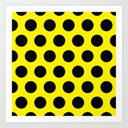 Black Circles on Yellow Background Art Print