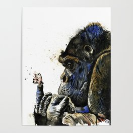 Gorilla - Gentle Giant - Watercolor Animal Painting Poster