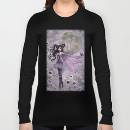 Purple Passion Little Gothic Fairy in the Stars Illustration by Molly Harrison Long Sleeve T-shirt